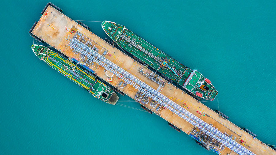 High angle view of ship by sea