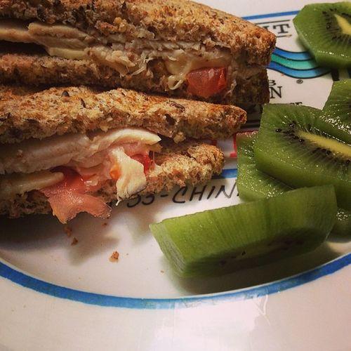 Lunch is a sammie Ezekiel Bread Turkey Pepperjack tomato kiwi