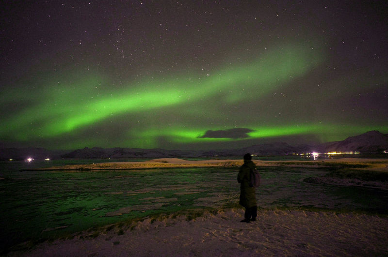 Aurora Iceland Astronomy Landscape Night Outdoors Star - Space Winter Lost In The Landscape The Traveler - 2018 EyeEm Awards