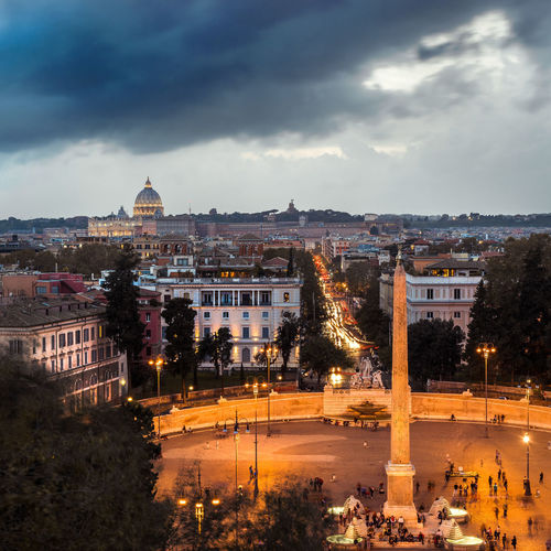 High angle view of illuminated buildings in city of rome