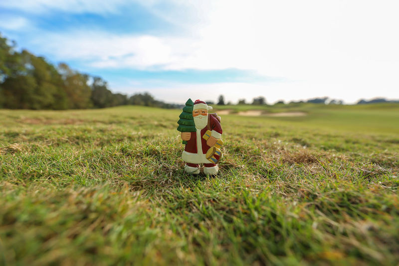 Close-Up Of Santa Claus Figurine On Grassy Field