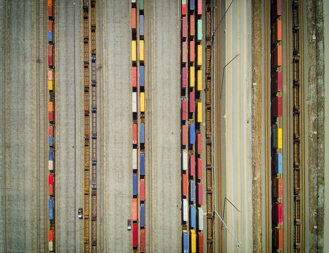 Dronephotography Aerial View Birds Eye View Train Railyard Transportation Railcars High Angle View Colorful