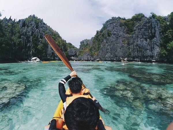 Kayaking Palawan Elnido Sea Adventure Two People Water Vacations Beauty In Nature Enjoyment Sky Oar