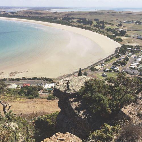 High angle view of calm beach