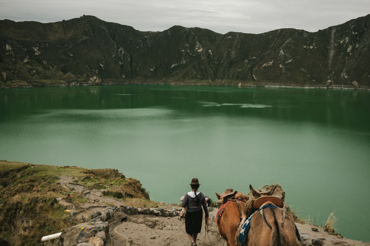 Amazing View Beauty In Nature Ecuador Green Water Horse Lagoon Lake Landscape Mountain Nature One Person Outdoors Quilotoa Real Life Scenics Tree Volcano Water The Photojournalist - 2017 EyeEm Awards