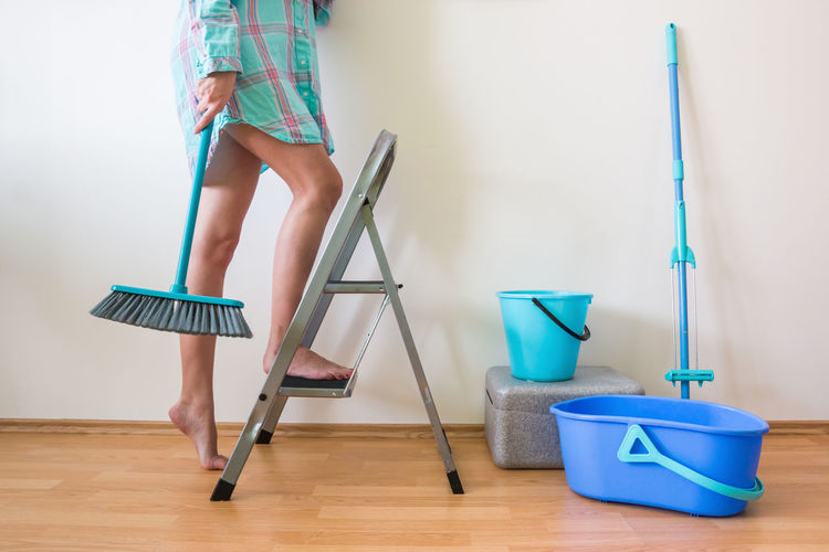 Blue Brush Bucket Cleaning Foot Home Housewife Indoors  Ladder Legs Wash Water Woman