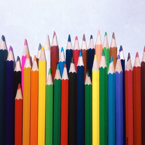 Multi Colored Colored Pencil Choice Studio Shot No People Variation Large Group Of Objects Close-up Group White Background Day EyeEm Diversity