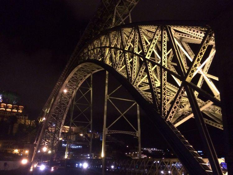 Bridge Porto Gaia Night lights Built Structure Angles And Views river Douro  douroriver EyeEmNewHere Ponte Rio Ponte D.Luis Ferro Noite Luzes
