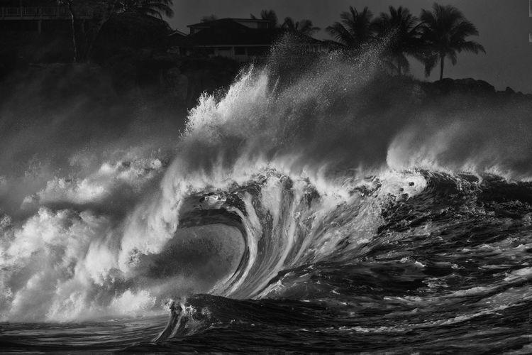 Large waves curling and crashing at waimea bay