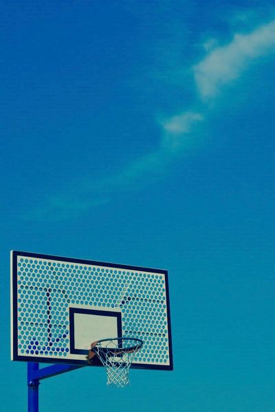 Basketball - Sport Basketball Hoop Blue Sport Low Angle View Court Sky Day Leisure Games Outdoors No People Close-up