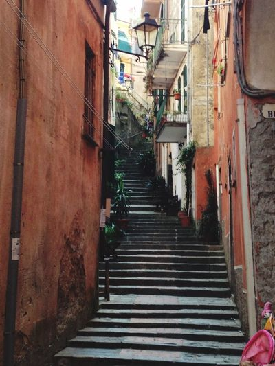 Monterosso al Mare IPhoneography IPhone EyeEmNewHere Monterosso Al Mare Tourism Architecture Built Structure Building Exterior Staircase Building Steps And Staircases The Way Forward City Day Outdoors No People