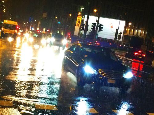Urban Rain Traffic Night Lights