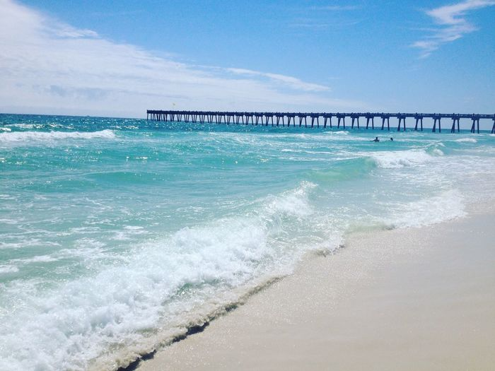 Architecture Beach Beauty In Nature Blue Built Structure Cloud - Sky Day Florida Horizon Over Water Mexican Bay Nature No People Ocean Outdoors Pensacola Pensacola Beach Power In Nature Scenics Sea Sky Water Wave EyeEmNewHere