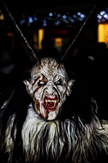 Horror Halloween Spooky Evil Fantasy Stage Make-up Monster - Fictional Character Arts Culture And Entertainment Performing Arts Event Tradition Scary Masks Scaryface Creepy Nightmare Before Christmas Krampuslauf Snarling Looking At Camera Costume Monster Evil Monsters And Demons