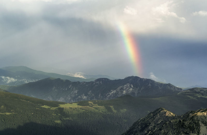Beauty In Nature Cloud - Sky Day Double Rainbow Idyllic Landscape Mountain Mountain Range Nature No People Outdoors Rainbow Scenics Sky Spectrum Tranquil Scene Tranquility