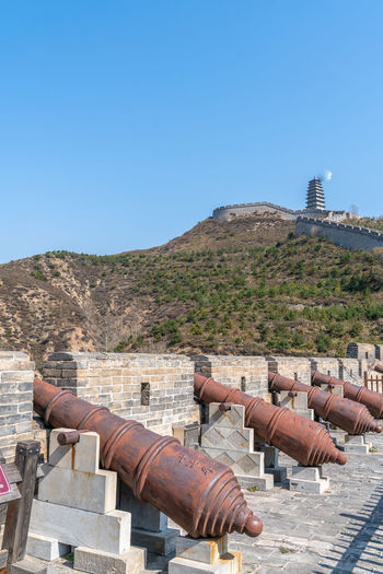 Artillery on the Great Wall of yanmen pass, China Ancient Ancient Buildings Ancient Times Artillery Blue Sky Buildings China Defense Firearms Great Wall Of China Mountains Old Fashioned Shanxi Province Sunny Days Weapon Yanmen Pass Nature Architecture Day Built Structure No People History The Past Outdoors Cannon Sky Clear Sky Mountain Copy Space Sunlight Blue Building Exterior Scenics - Nature Land Environment Fort