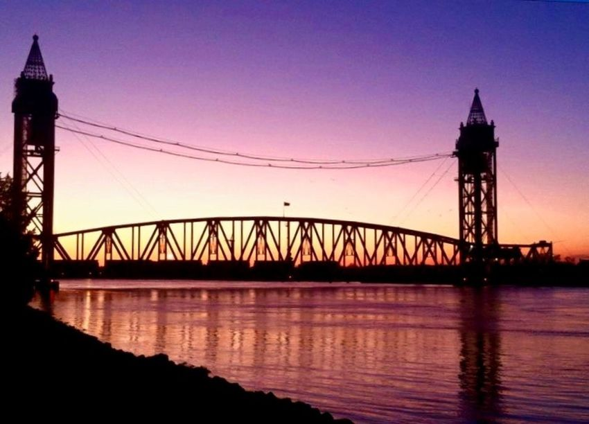 Hidden Gems  Sunset at the Cape Cod Train Bridge. Cape Cod Train Bridge Capecodimages Canal Capecodcanal Beach Beachphotography Beautiful Sunset