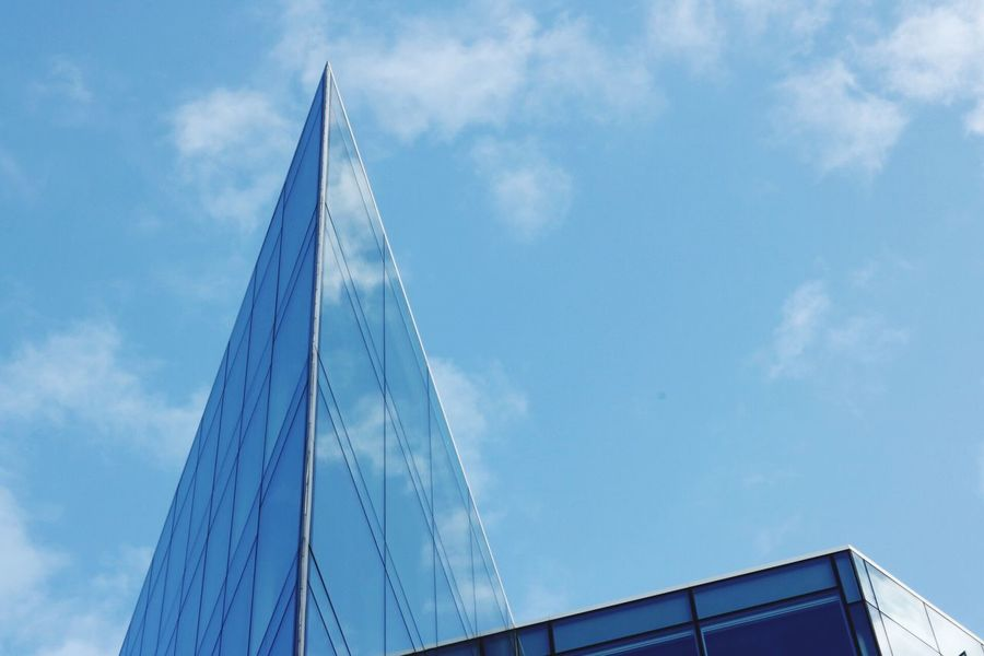 Sky Low Angle View Blue Built Structure Architecture Cloud - Sky Outdoors No People Day Building Exterior Architecture Architecture_collection Window Windows Cloud Clouds And Sky Reflection Reflections Modern Architecture Liverpool, England