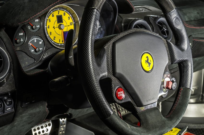 Close-up Cockpit Emotions Engineering Extreme Close Up Ferrari Ferrari 430 Scuderia Ferrari Scuderia Ferrari World Man Made Object Motor Vehicle Number Power Scuderia Ferrari Start Button Steering Wheel Technical Technical Detail