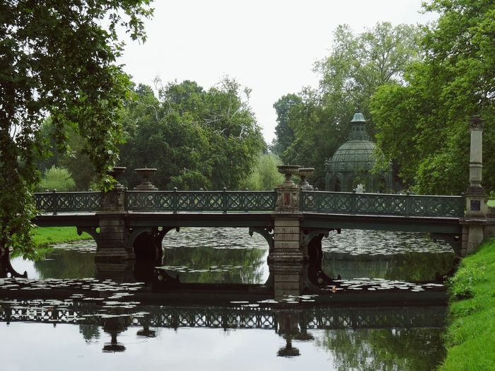 Green bridge with reflection on water and one column Footbridge Green Colors Reflection On Water Structure Frenchy Garden Outdoor Water Lillies Water Area Trees Bridge - Man Made Structure Built Structure