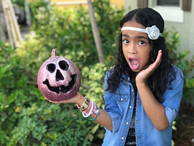 My beautiful daughter MiaCamila ... that Halloween face... Trickortreat Halloween EyeEm Boo Halloween Spookybeauty Outdoors One Girl Only IPhone7Plus Backgrounds Nofilter#noedit Kidsfashion Kidsmodel