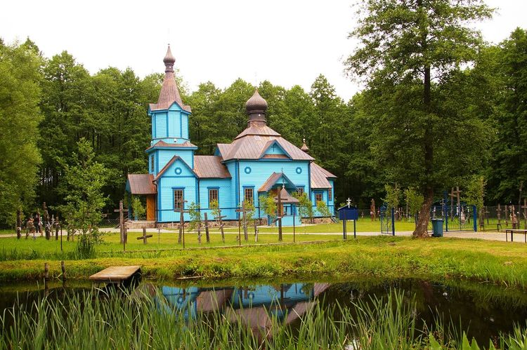 Architecture Blue Church Church Eastern Orthodox Forest Grass Koterka Lake Poland