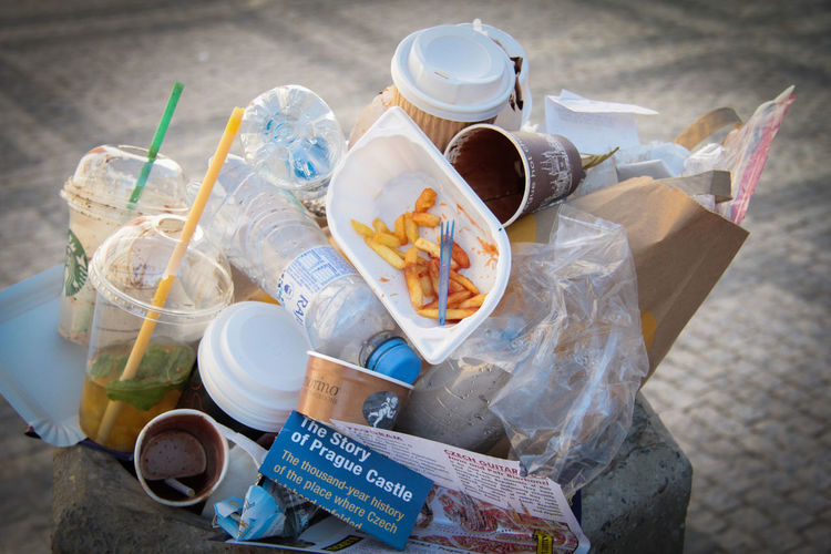 Cup Food And Drink Drink Plastic Container Disposable Cup Disposable Paper High Angle View No People Mug Refreshment Bag Coffee Cup Still Life Food Bottle Group Of Objects Close-up Day Plastic Bag Glass Garbage Bin Waste Recycling Nature Ecology Problems Modern World Prague Castle