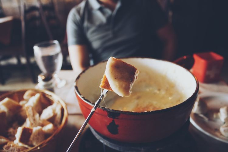 Close-up of swiss cheese fondue