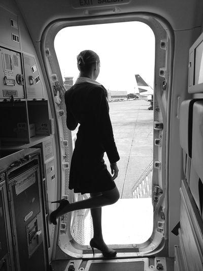 Crew life Stewardess StewardessLife Crewlife Crewlove Blackandwhite Runway FlightAttendant Flightattendantlife Full Length Silhouette