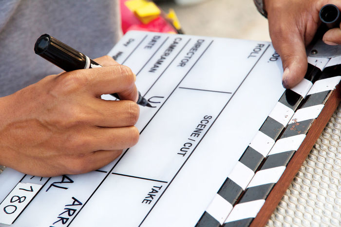 film crew, Labeling the Slate on set Camera Work Filming Studio Work Working Clapperboard Director Of Photography Film Crew Film Industry Film Shot Film Slate Filming Location Labeling Studio Shot Text Writing