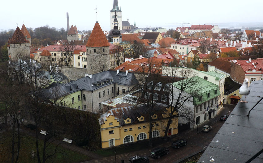 High angle view of old town by buildings in city