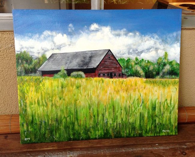 Just finished this 16x20 acrylic landscape painting, this barn is Biddeford Maine Art Beautiful Taking Photos Landscape