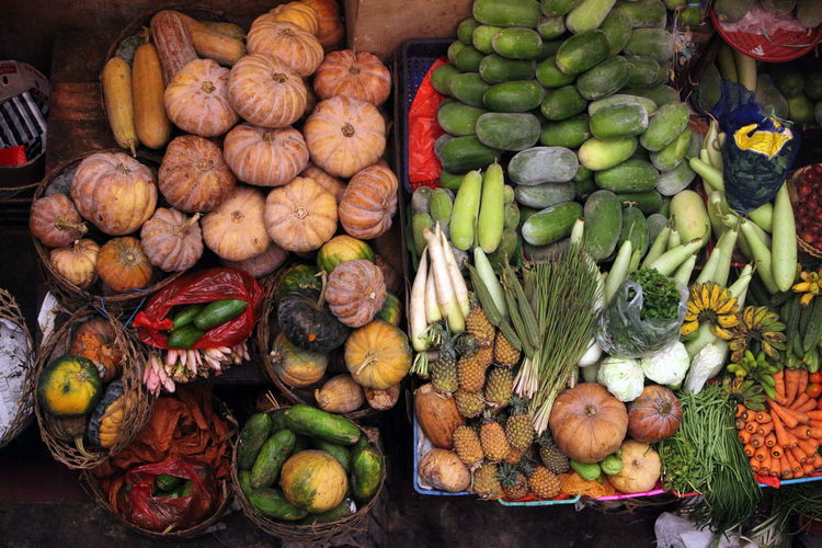 High angle view of fruits and vegetables at market for sale