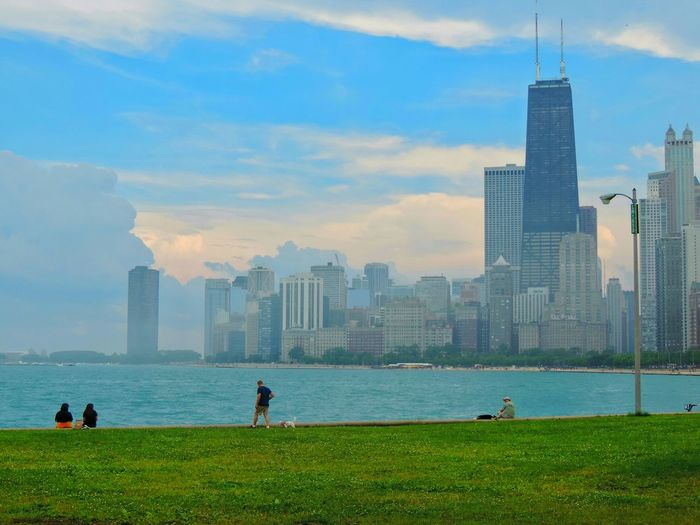 ChiTown Hancock HancockTower Cityscape Lake Michigan Chicago Grass Clouds Sky Blue