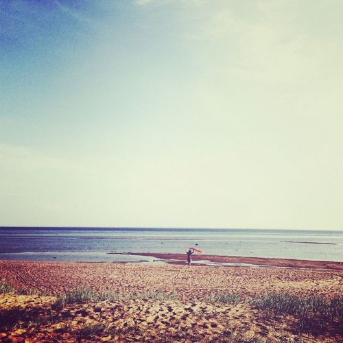 Beach Beauty In Nature Clear Sky Day Horizon Over Water Nature One Person Outdoors People Real People Sand Scenics Sea Sky Tranquil Scene Tranquility Water