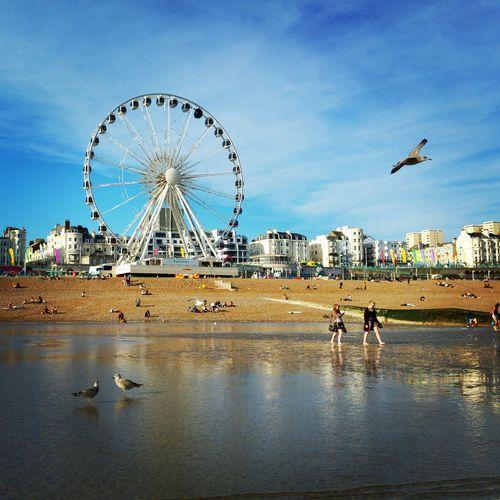 Ferris Wheel At Beach Against City