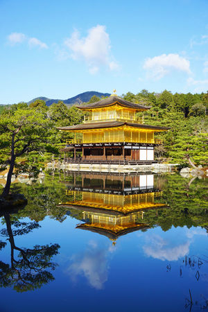 2016 Architecture Built Structure Forest Gold Japan Kinkakuji Kyoto Mirror Pond Reflection Religion Sky Temple Tree Water 京都 臨済宗 金閣寺 鹿苑寺