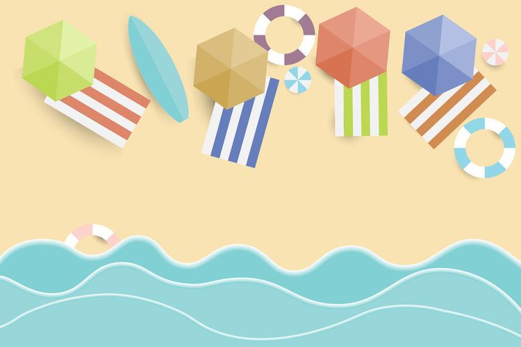 view summer beach and sea background Vector Beach Summer View Top Background Sea Vector Illustration Sand Paper Holiday Design Vacation Style Nature Blue Umbrella Travel Sun Water Seaside Tourism Art Starfish  Cut Multi Colored Indoors  No People Studio Shot Pattern Shape Still Life Creativity Decoration Art And Craft Close-up Copy Space Variation Flag Choice Celebration Craft Striped Vector Art Summer Views