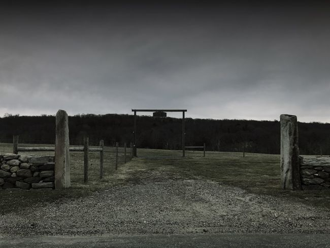 Sky No People Wooden Post Outdoors Day Landscape Grass Tree Nature Farm Stormy Weather Entrance Black And White Gloomy Fence Land Landscapes Monochrome Wooden Posts Farmland Farm Life Night