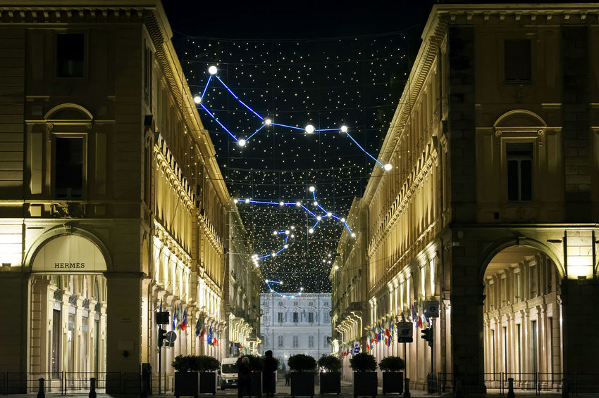 Architecture Christmas Christmas Lights City Cityscape Constellation Holidays Lights Nightphotography Piazza San Carlo Porch Torino Travel Via Roma Arch Baroque Buildings Christmas Decoration Decoration Italy Night Porticato Tourism Turin Urban Stories From The City