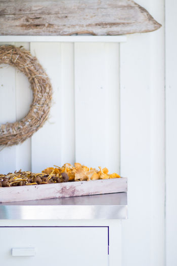 Autumn Golden September Chanterelles Container Day Food Freshness From The Woods Golden Chanterelle Healthy Eating Indoors  Indulgence No People On The Porch Shelf Still Life Store Sweet Food Table Temptation Tray Wellbeing White Color