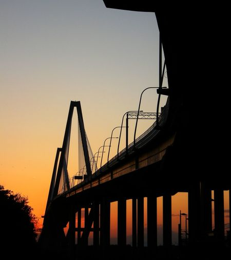One of many sunset photos of the Ravenel Bridge, Charleston, South Carolina. Silhouette Sunset No People Night Outdoors Sky Bridge - Man Made Structure Bridges Make The Connection Infrastructure Transportation Suspension Bridge Cable-stayed Bridge Unique Perspectives Charleston SC EyeEm Best Shots Be. Ready. The Traveler - 2018 EyeEm Awards The Great Outdoors - 2018 EyeEm Awards