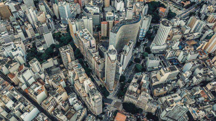 Full frame shot of modern city buildings