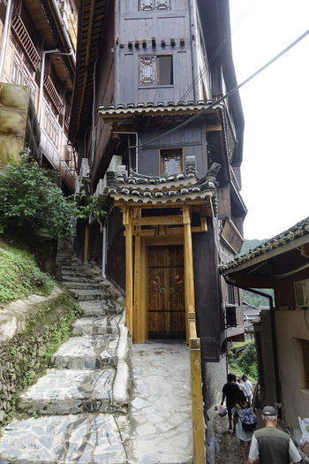 Village Hill Side Rural Scene Path Entrance China,Guizhou Architecture Building Exterior Built Structure