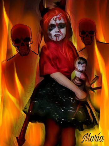 My little Marta the last halloween 2015 Artwork By Me Edited By Me Creativity Flame Hell Mi Hija Marta