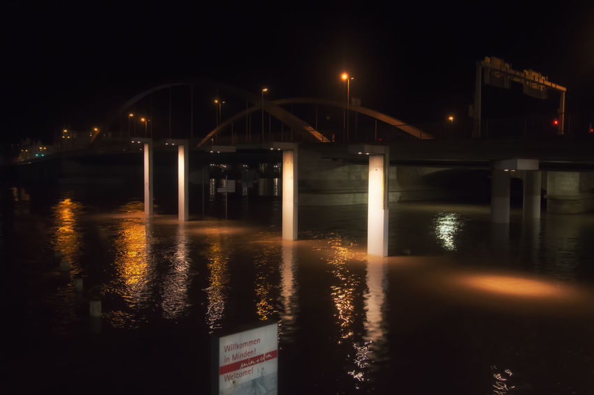 Minden Flood Highwater Illuminated Night Water Reflection Bridge - Man Made Structure No People Nature City River