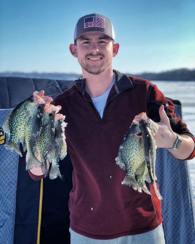 Not too Crappie of an Afternoon! 🎣🐠🐟 Minnesota Ice Lake Crappie Icefishing Fishing Fish Fun Looking At Camera Real People Portrait Smiling Fish Seafood Mid Adult Men Catch Of Fish One Person Front View Lifestyles Happiness Leisure Activity