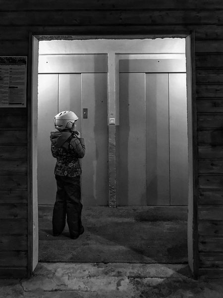 Waiting for the Lift 😀 Photooftheday One Person Doors Bnw Frame Blackandwhite Iphoneonly Outofthephone Iphonephotography Moment Built Structure Snapseed Winter EyeEm IPhoneography Bareges Winter Protection