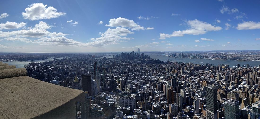 New York panoramic from on top of the Empire State #ithink EyeEm Selects Sky Sea Water Cloud - Sky Nature Horizon Over Water Horizon Scenics - Nature Day Beach Beauty In Nature Land City No People Built Structure Outdoors Architecture Building Exterior Tranquil Scene Cityscape