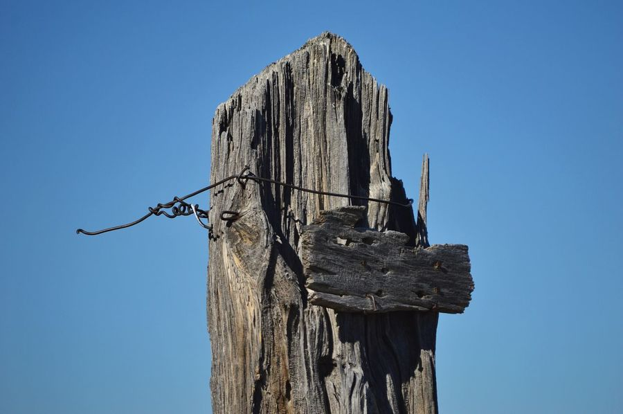 Single fence post Wire Weathered Wood Eye Level View Top Of Post Outdoors Shadows Blue Color Facing North Clear Sky Wooden Post Blue Wood - Material